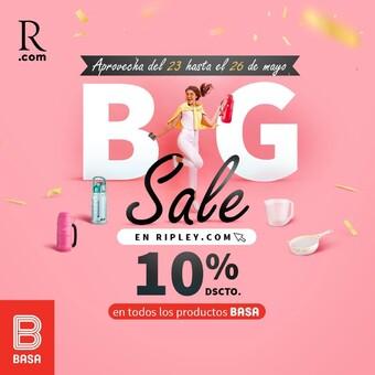 ¡BASA participa en el BIG SALE de @ripleyperu ¡ Compra productos Basa con 10% de descuento!🤩 Ingresa a https://cutt.ly/cbAuMO1 Vigencia del 23 hasta el 26 de mayo del 2021.
