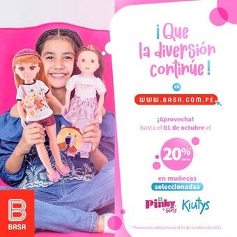 ¡Que la diversión continúe en la tienda virtual www.basa.com.pe! 🥳🤩 ¡Aprovecha el 20%* de dscto. en nuestras muñecas seleccionadas Pinky Girls y Kiutys! *Promoción válida hasta el 01 de octubre del 2021.