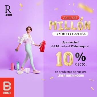 ¡Basa participa en la venta del millón de @ripleyperu! ¡ Compra productos Basa con 10% de descuento en toda la línea HOGAR! Ingresa a https://cutt.ly/cbAuMO1 Vigencia del 10 hasta el 12 de mayo del 2021.