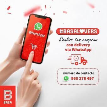 Realiza tus compras con delivery vía WhatsApp, comunícate al número 968 278 497 y disfruta de nuestros productos BASA. #BuenosConBdeBASA